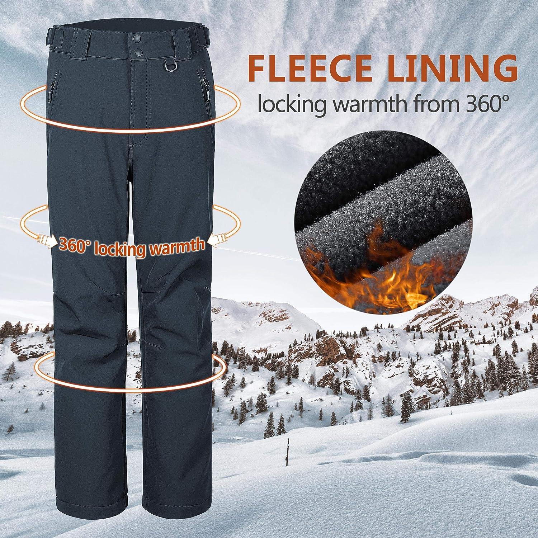 Outdoor Ventures Mens Lite Waterproof Windproof Fleece Lined Warm Hiking Ski Snow Pants Expandable-Waist
