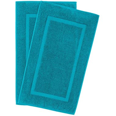 900 GSM Machine Washable 21x34 Inches 2-Pack Banded Bath Mats, Luxury Hotel and Spa Quality, 100% Ring Spun Genuine Cotton, Maximum Softness and Absorbency by United Home Textile, Aqua Ocean