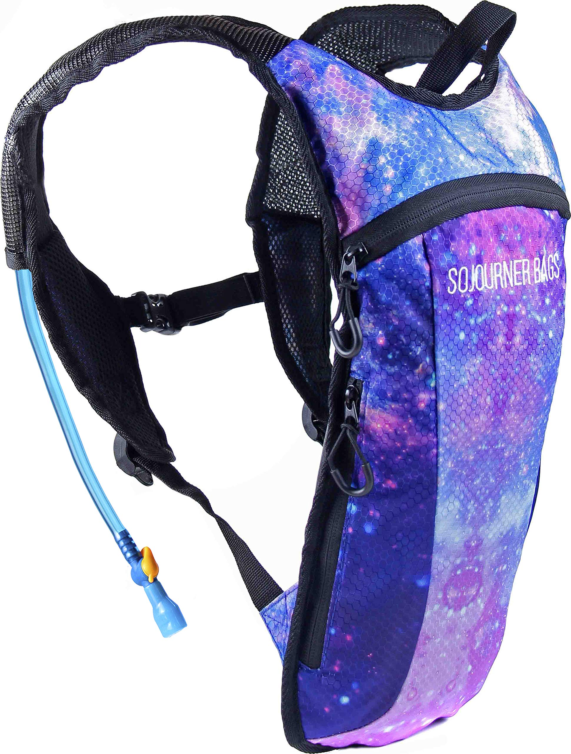 Sojourner Hydration Pack Backpack - 2L Water Bladder Included for Festivals, Raves, Hiking, Biking, Climbing, Running and More (Galaxy 1) by SoJourner Bags