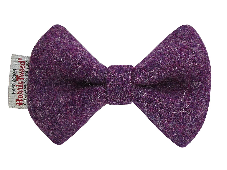 Harris Tweed Heather Purple Designer Dog Collar Bow Tie