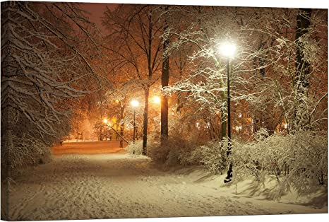 Amazon Com Lightfairy Glow In The Dark Canvas Painting Stretched And Framed Giclee Wall Art Print Scenery Landscape Outdoor Winter In The Park Master Bedroom Living Room Large Décor