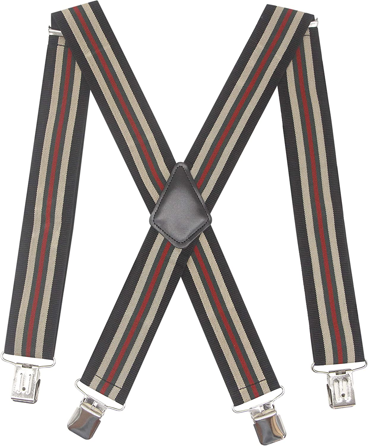 Striped Blue Heavy Duty Trouser Braces Mens Suspenders Strong Clips XL Long