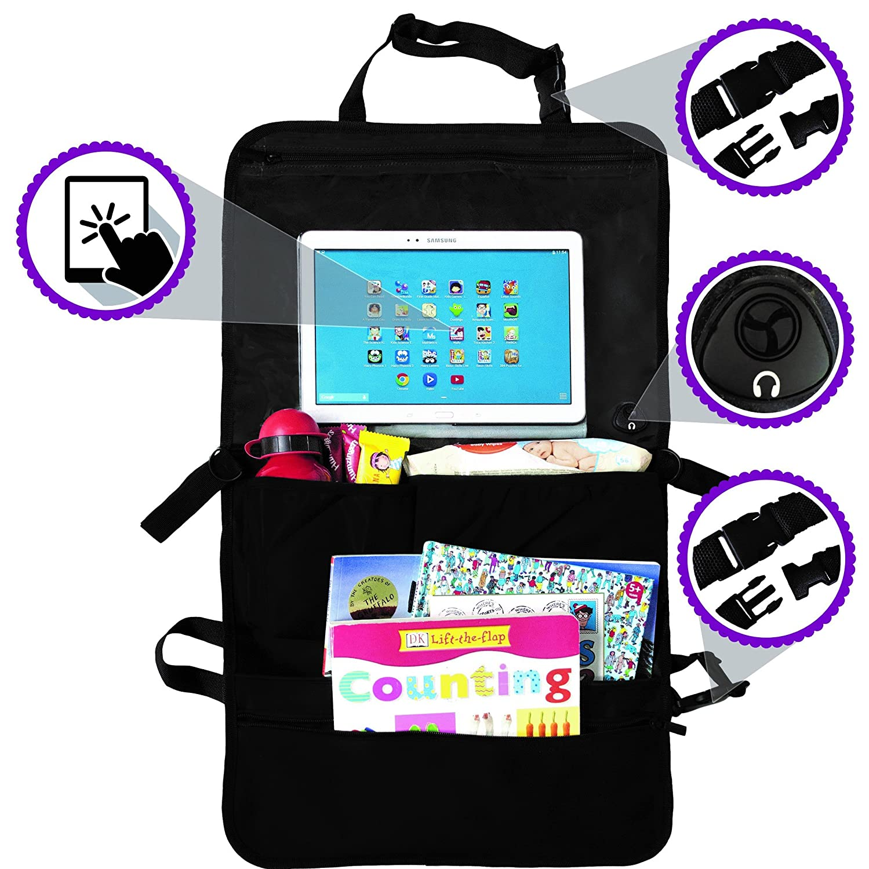 Car Back Seat Organiser /& Backseat Tablet Holder for Kids