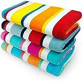 KAUFMAN - 32in x 62in Velour - Multicolor Joey Cabana Stripe Towel 4 piece Set