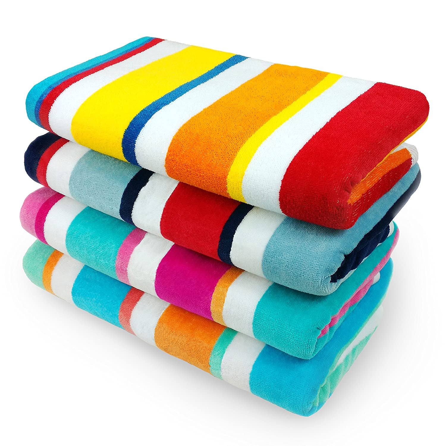 Kaufman - Multicolor Joey Cabana Stripe 4-Pack  Best Beach Towels