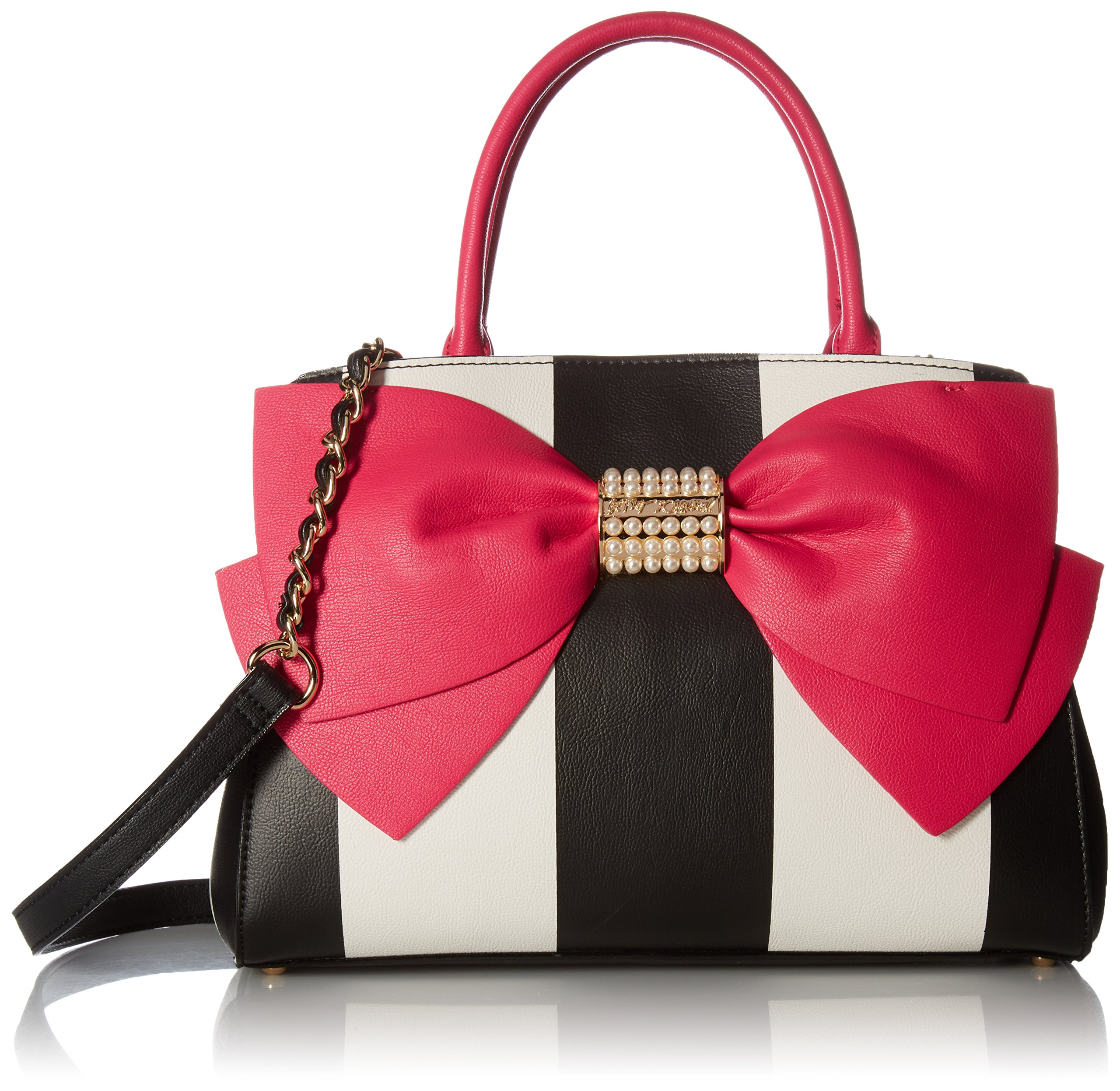 Betsey Johnson Pearl of a Girl Bow Satchel, Stripe Fuchsia
