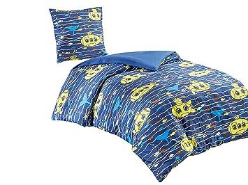 Scm Kinder Bettwäsche 135x200cm Blau Gestreift 100 Baumwolle