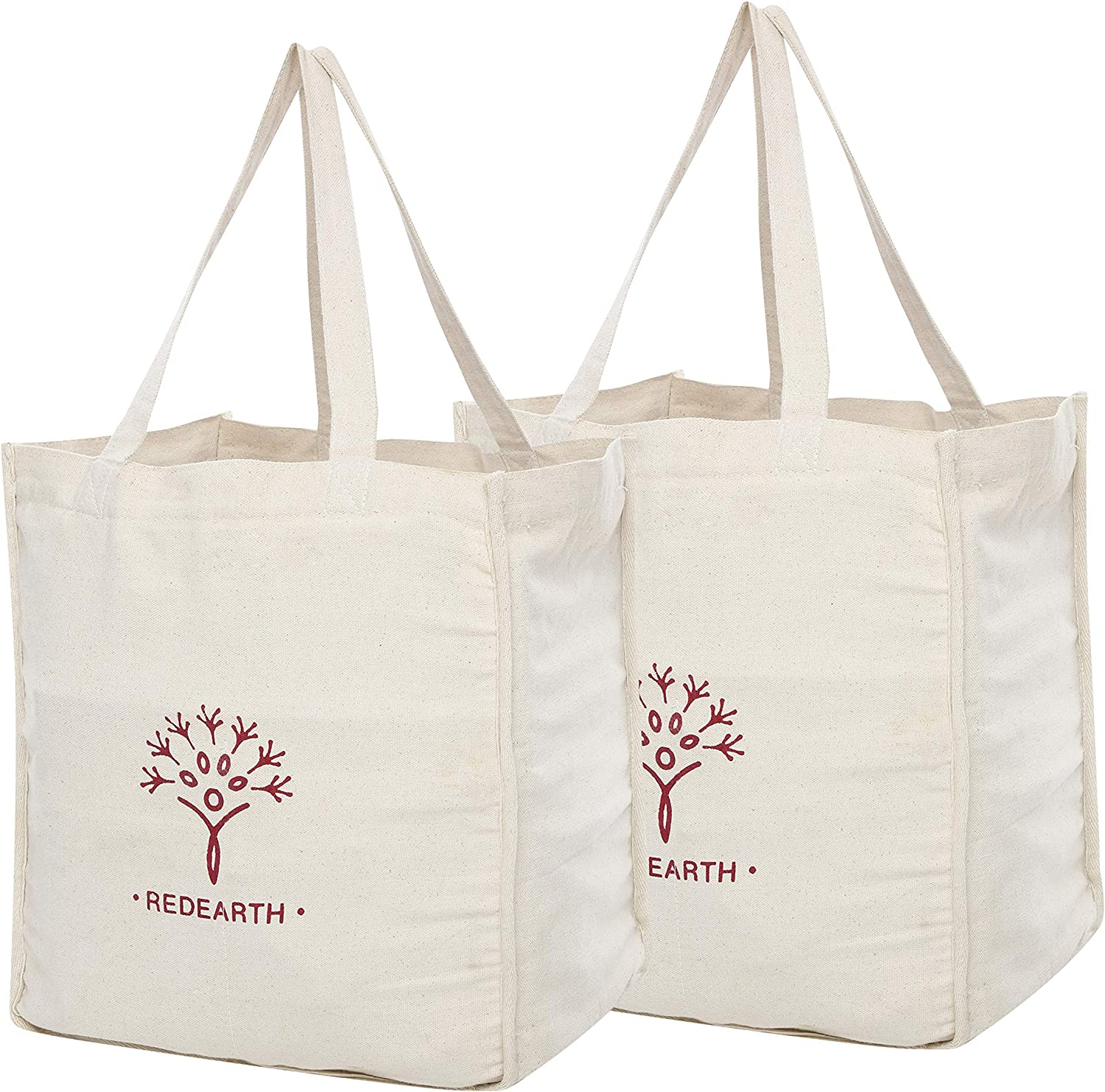REDEARTH Reusable Heavy Duty Canvas Grocery Shopping Bag -Pre Shrunk 100% Natural Cotton Eco Friendly Extra Large Foldable Tote With Handles and Bottle Sleeve Compartment (15x13x8