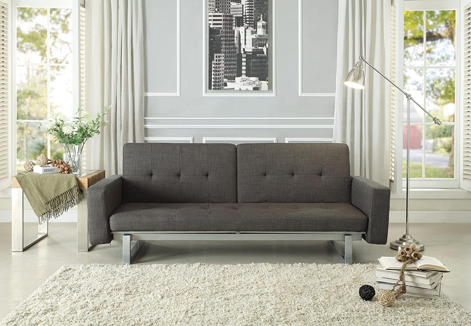 Amazon Homelegance 4827FA Convertible Adjustable Sofa Bed Grey Fabric Kitchen Dining