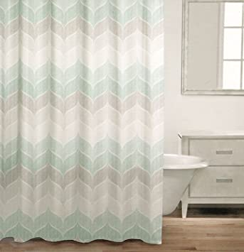 beige and gray shower curtain. Caro Home 100  Cotton Shower Curtain Wide Stripes Chevron Fabric Zig Zag White Amazon com