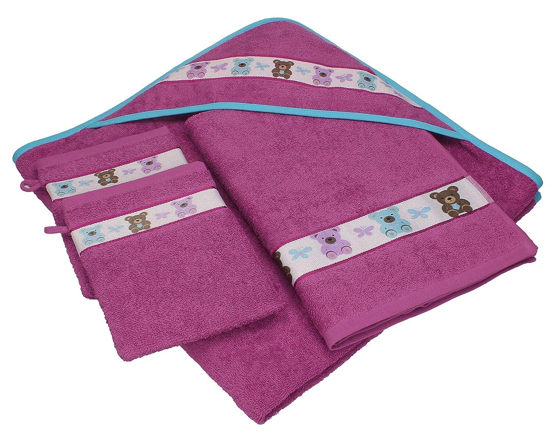 Betz Juego de 4 piezas de toallas para bebés OSITOS 100% algodón 1 toalla con capucha 1 toalla y 2 manoplas de baño de color rojo-morado: Amazon.es: Bebé