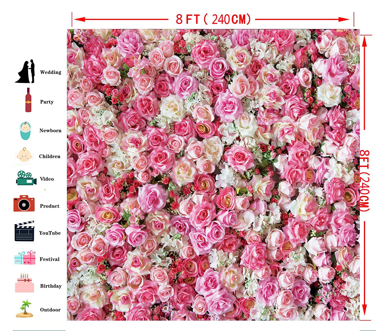 Dudaacvt 8x8ft Happy Birthday Backdrop Wedding Backdrops Pink Red Rose Flowers Photography Studio Photographers Background Booth Props D0400808