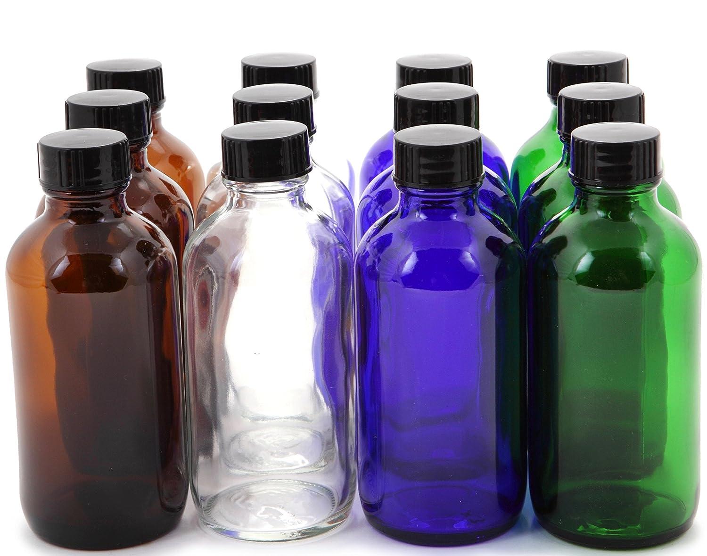 Vivaplex, 12, Assorted Colors, 4 oz Glass Bottles, with Lids