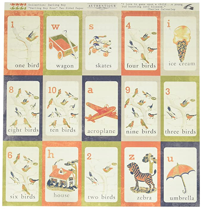 Authentique Paper DAB004 18 Sheet Darling Boy Vintage Alphabet/Multi Hounds tooth Double-Sided Cardstock Scrapbooking 12 by 12 by Authentique Paper