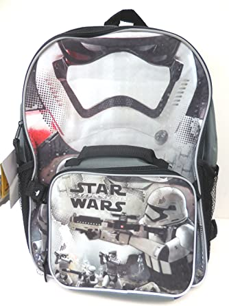 7ef00ff21f Amazon.com  Star Wars the Force Awakens 16 Inch Backpack with Detachable  Lunch Kit  Clothing