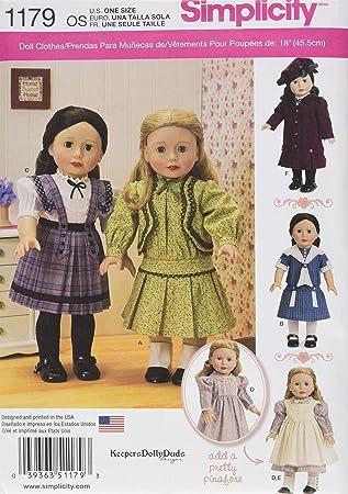 Simplicity 1179 Größe OS Vintage Inspiriert Kleidung für 18 Puppe ...