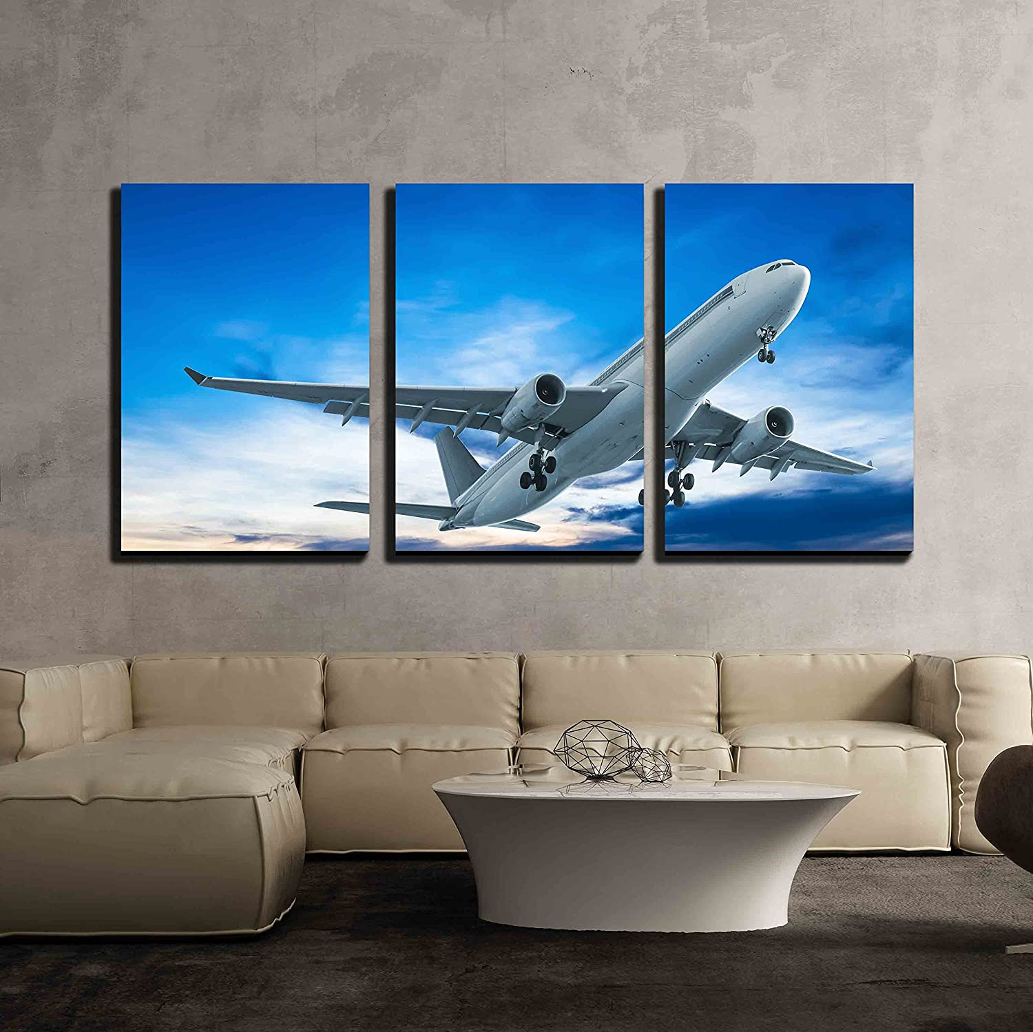 amazon com wall26 3 piece canvas wall art commercial airplane