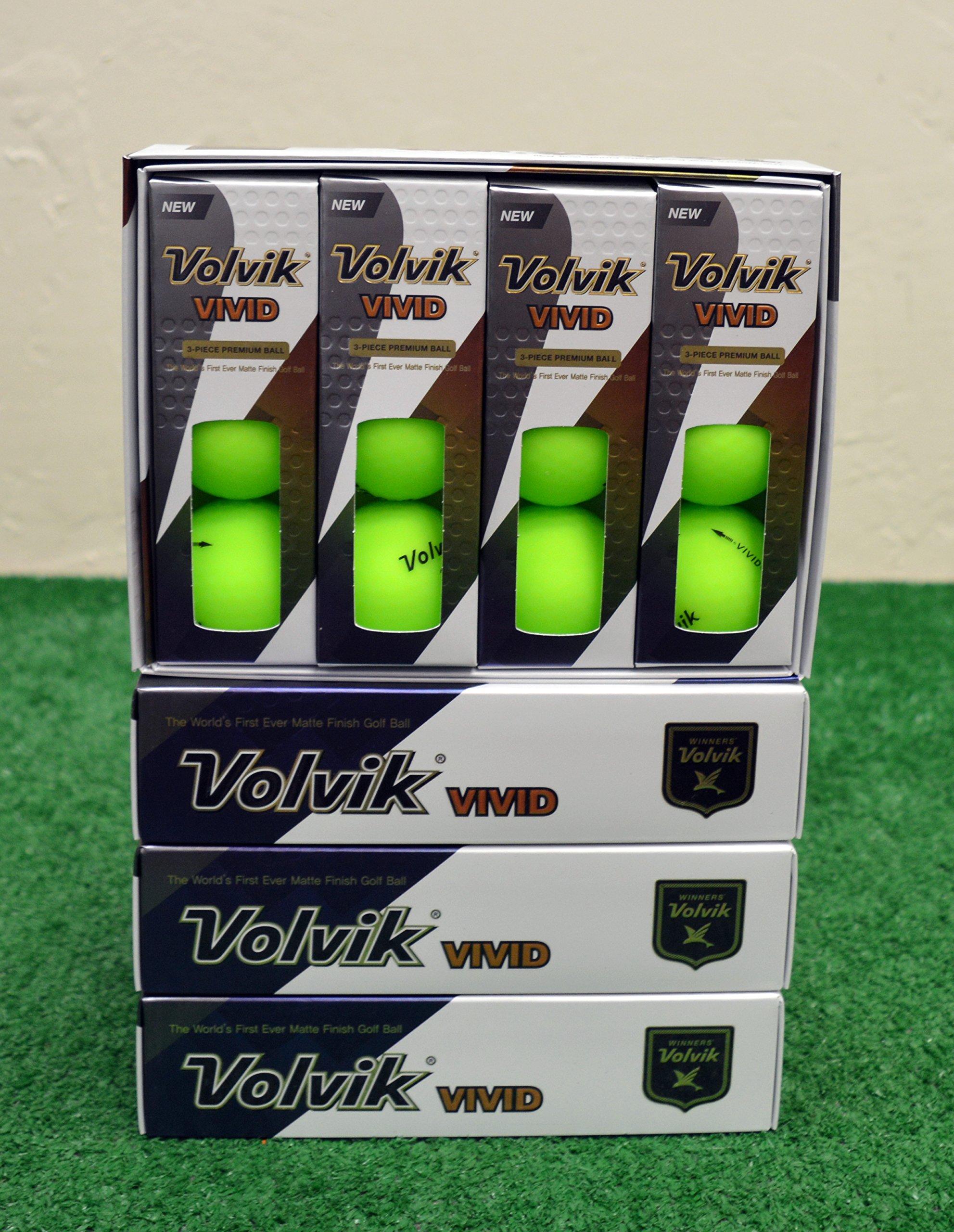 4 Dozen 2018 Volvik Vivid - Matte Green Golf Balls