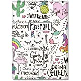 Cute Passport Cover for Women and Men, by Govinda Crafts, Eco Leather Passport Holder (Ladies Unicorn Pattern)