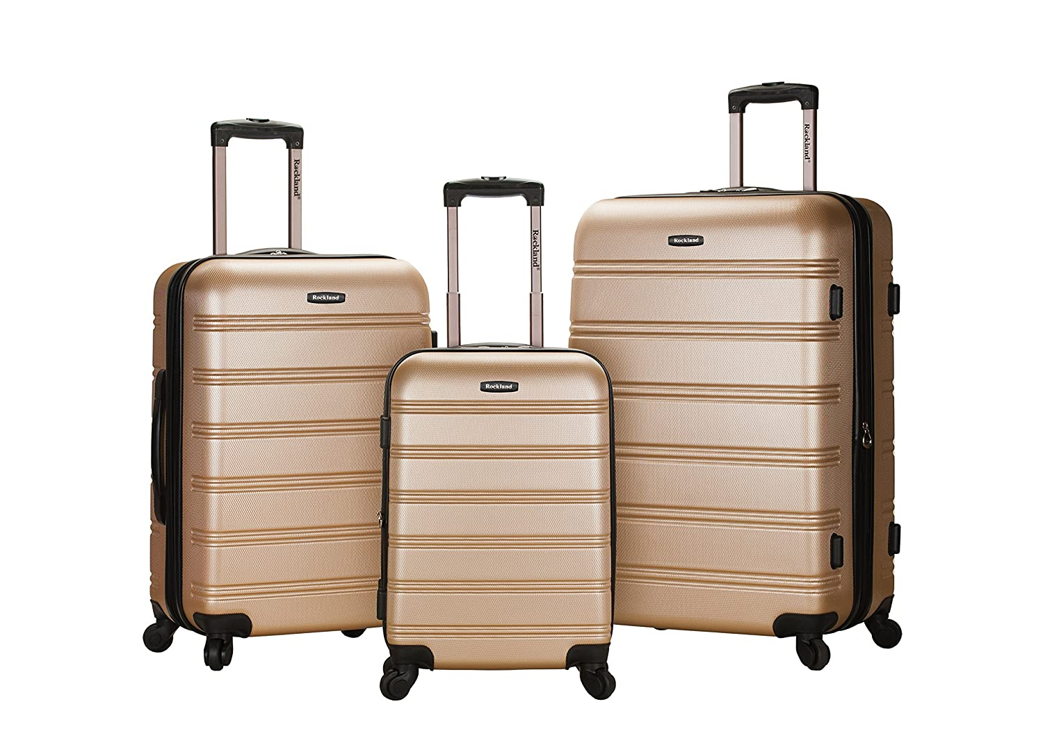 Amazon.com | Rockland Luggage Melbourne 3 Piece Set, Champagne ...