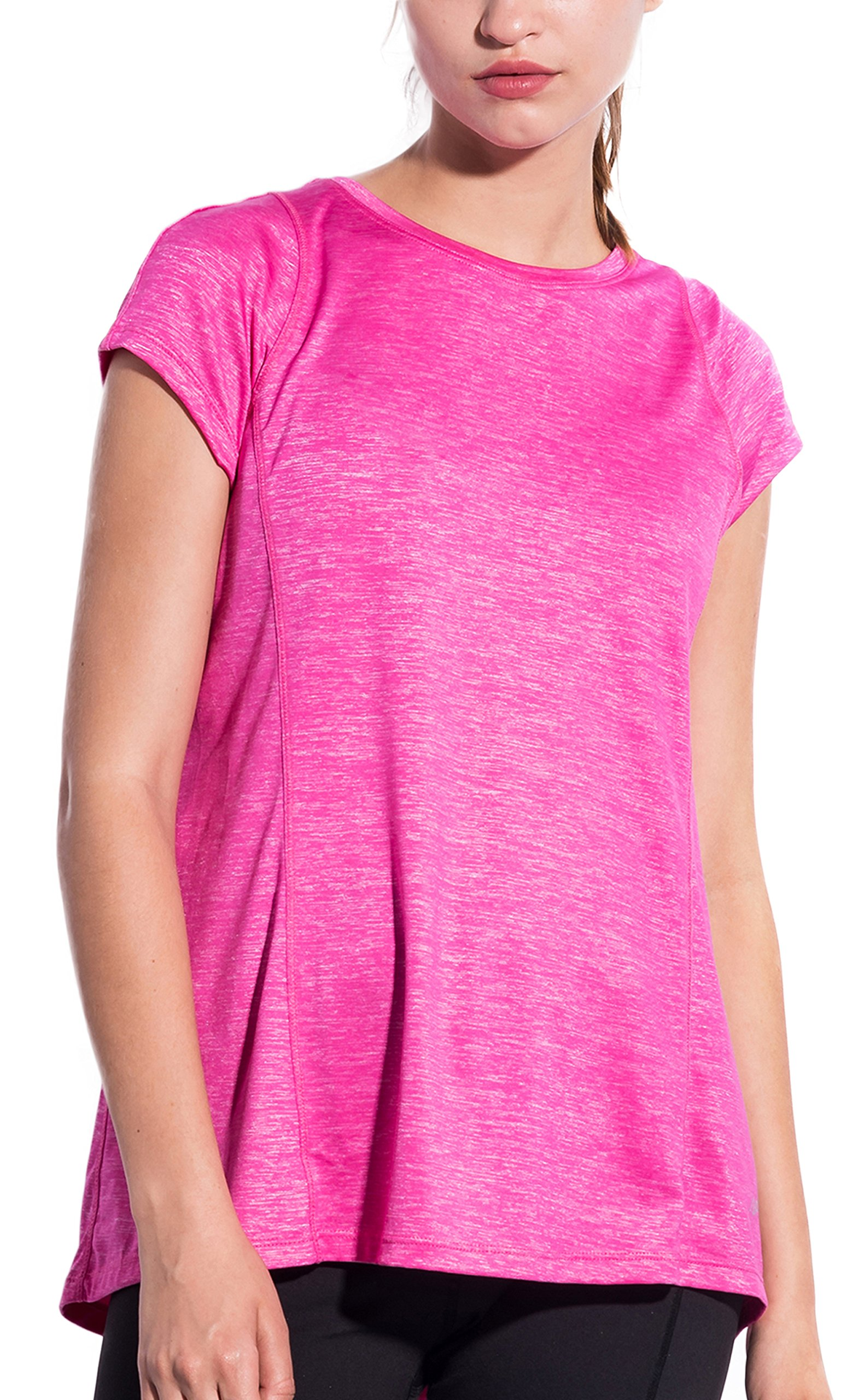 SPECIALMAGIC Women\'s Athletic Fashion Short Sleeve Round Neck Loose Tee T-Shirt (S 4, Rose Red)
