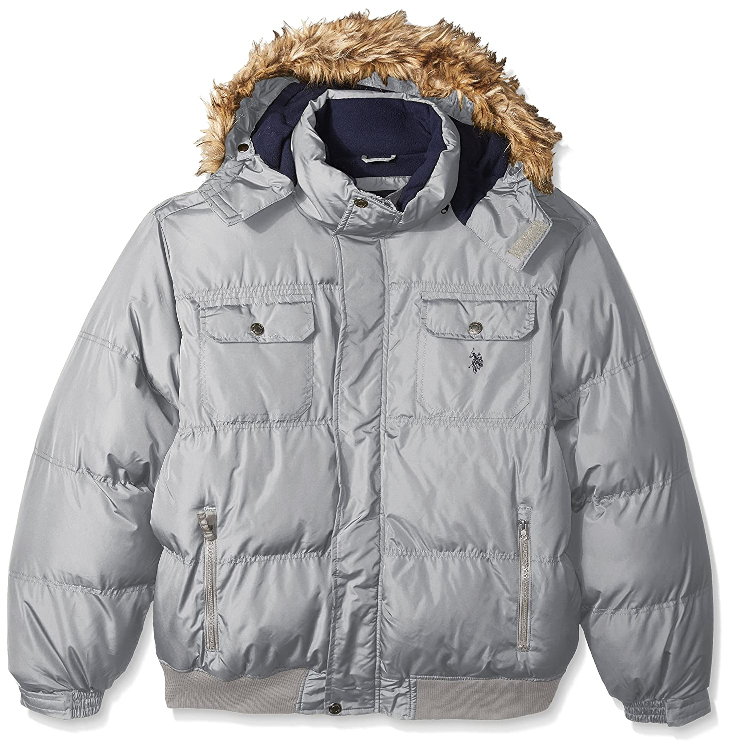 Limestone 2X Big U.S. Polo ASSN. Mens Big and Tall Short Snorkel Jacket with Faux Fur Trimmed Hood Down Alternative Outerwear Coat
