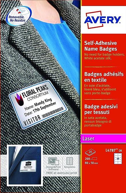 Avery España L4787-20 - Pack de 20 folios de identificativos con cornisa azul para impresoras láser, 80 x 50 mm, color blanco: Amazon.es: Oficina y papelería