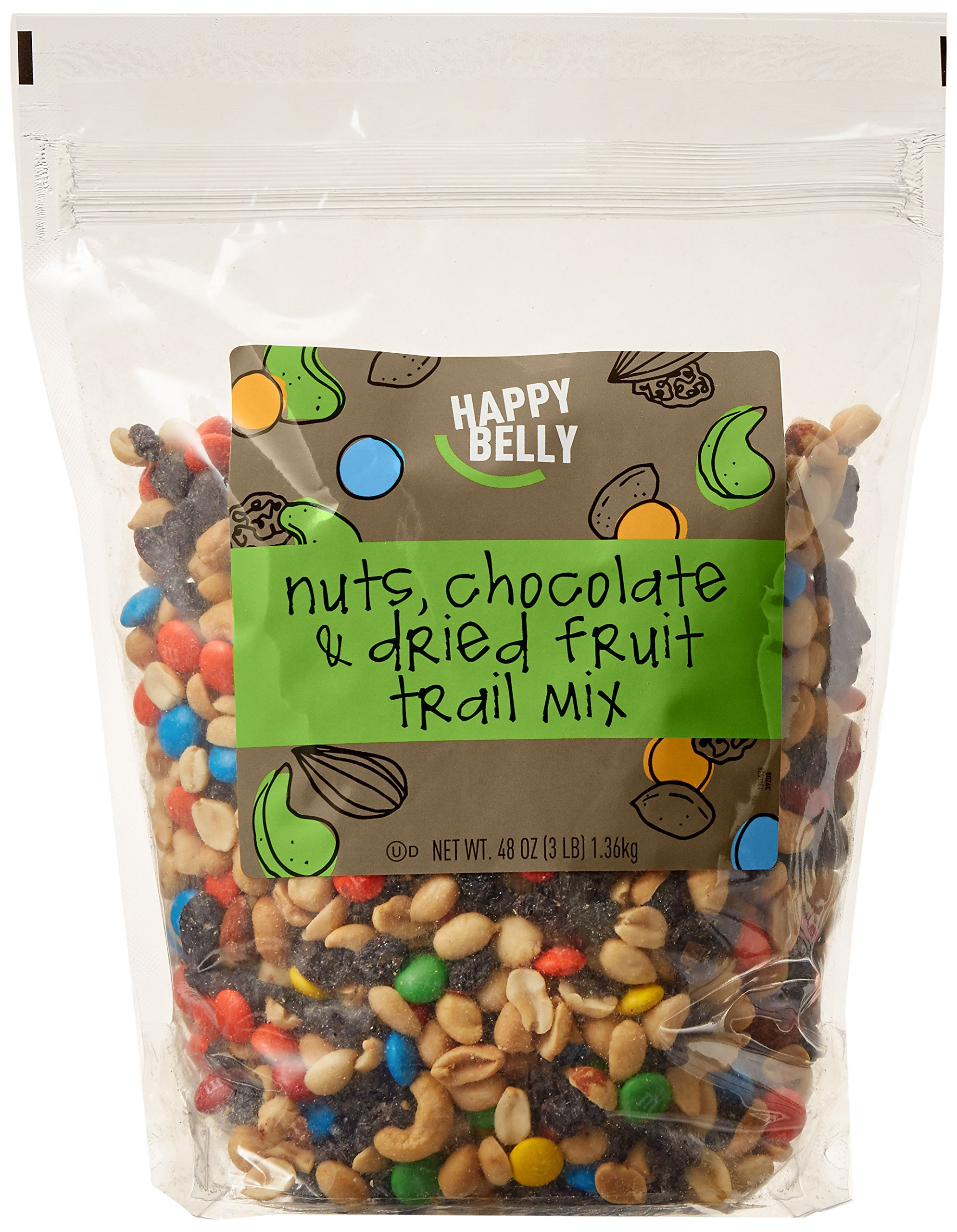 Amazon Brand - Happy Belly Amazon Brand Nuts, Chocolate & Dried Fruit Trail Mix, 48 ounce by Happy Belly (Image #1)