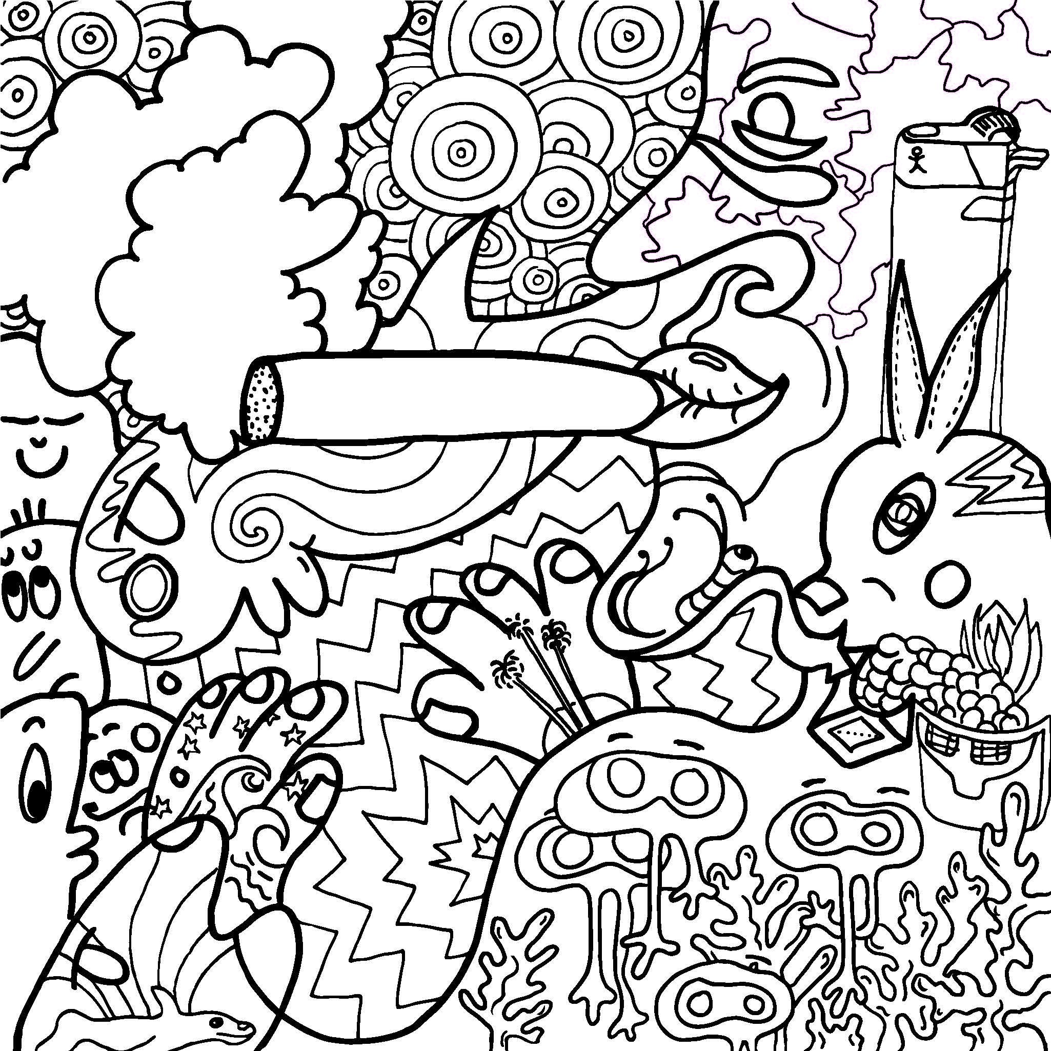 stoner trippy weed coloring pages - photo#6