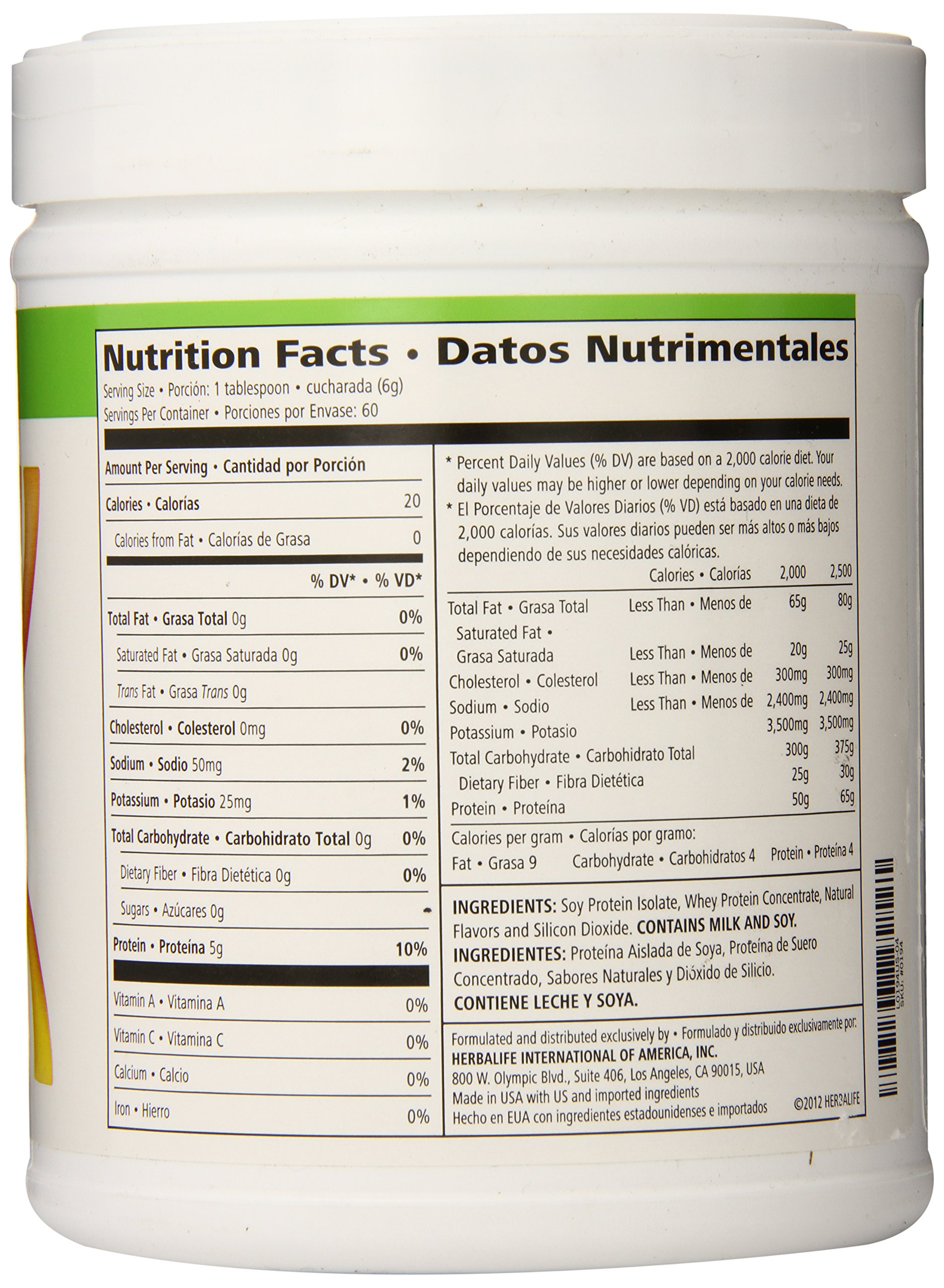 This is an image of Dynamite Herbalife Product Nutrition Labels
