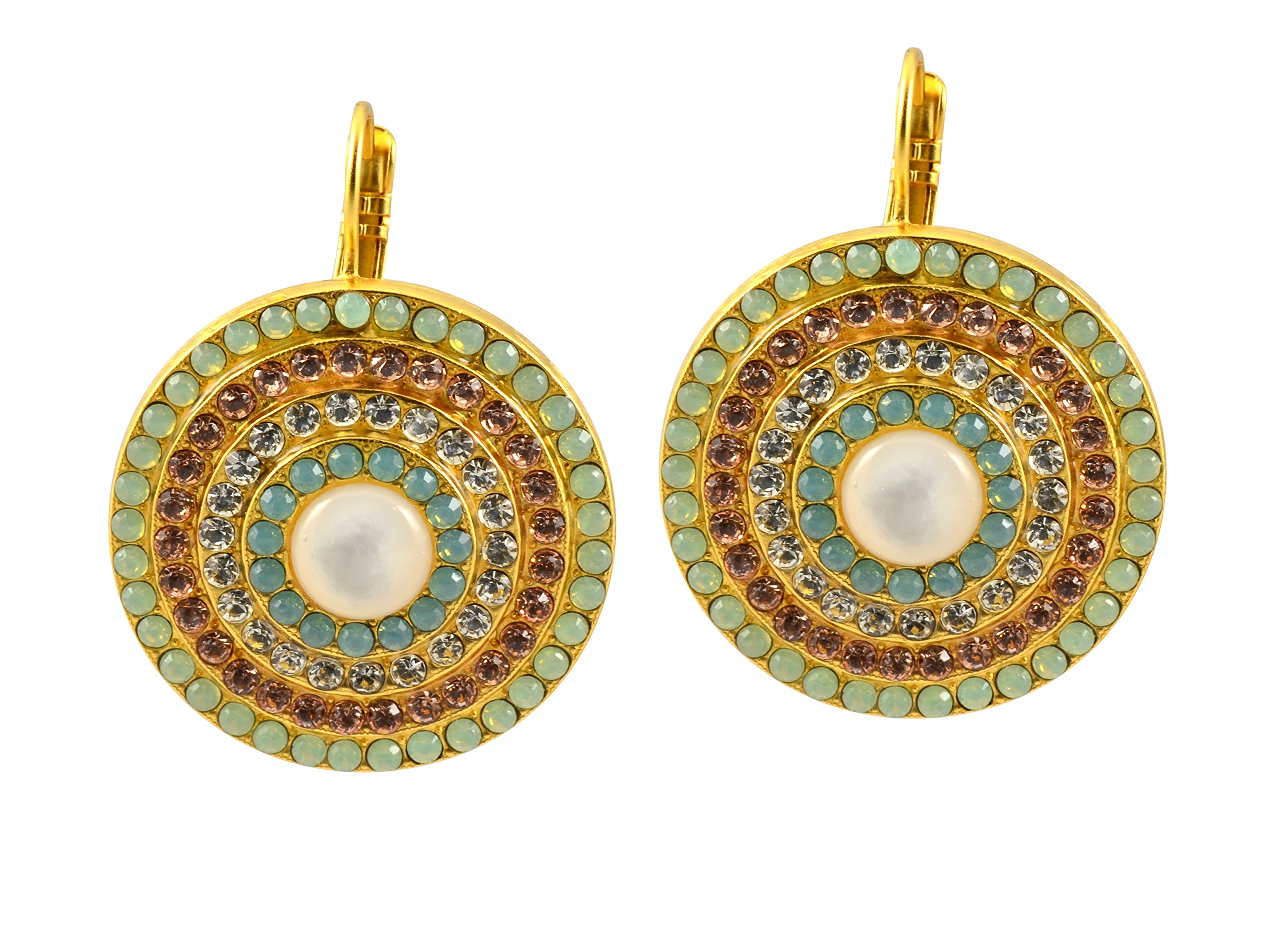 Mariana ''Summer Palace'' Gold Plated Crystal Spanish Roundel Drop Earrings