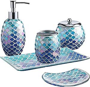 Whole Housewares 5-Pieces Bathroom Accessory Set Bright-Colored Mosaic Glass Bath Ensemble-Lotion Dispenser/Toothbrush Holder/Cotton Jar/Vanity Tray/Soap Dish(Mermaid)