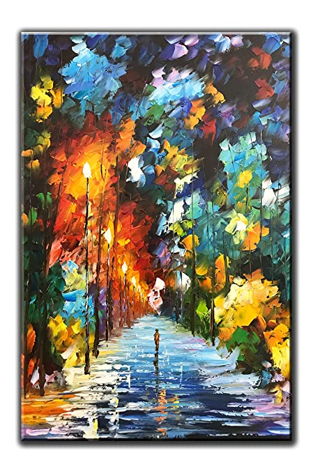 Charmant Diathou 24x36Inch Vertical Night Streetscape Oil Painting 100% Hand Painted  Wall Art Modern Home Decoration