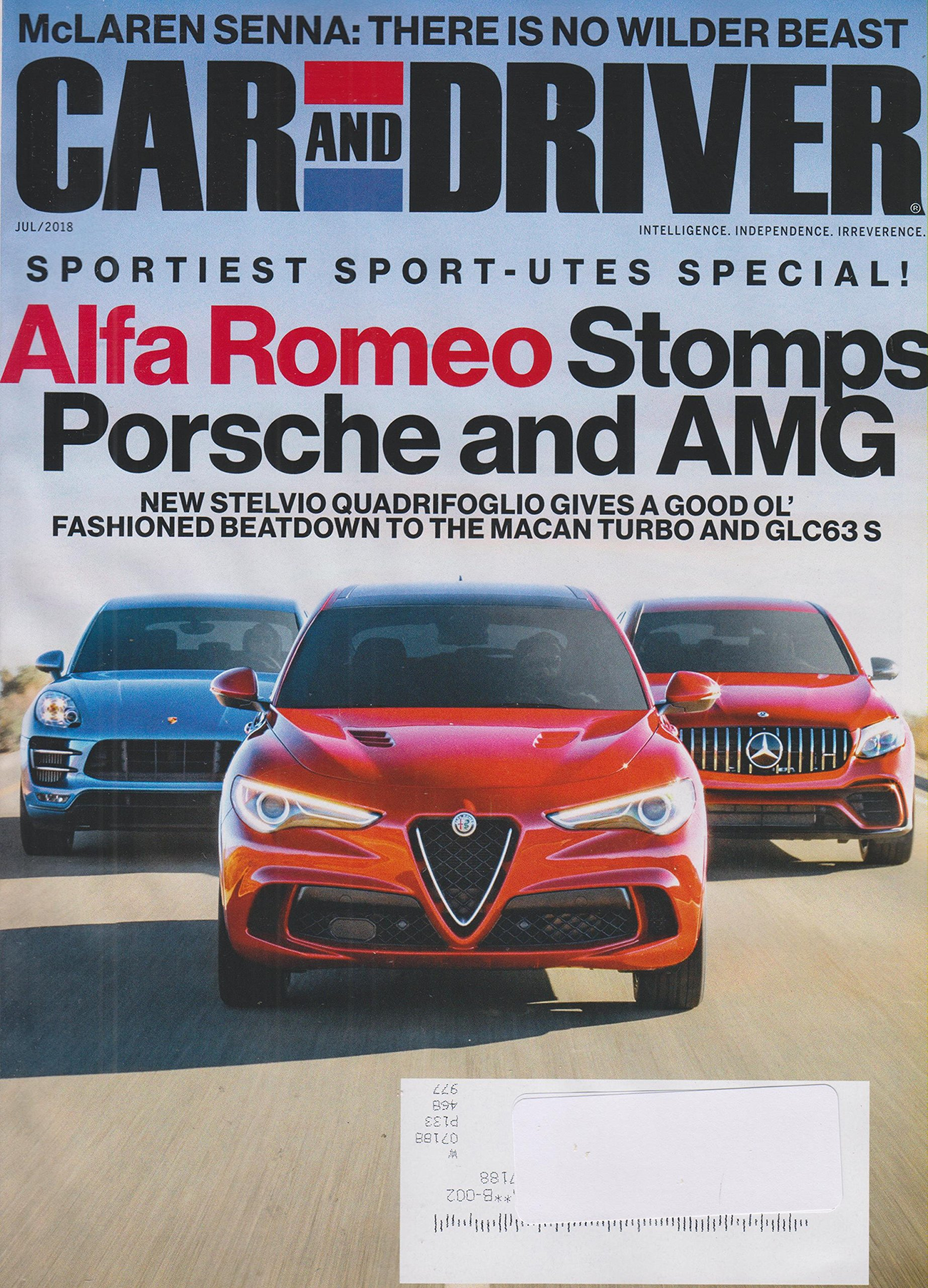 Car and Driver July 2018 Sportiest Sport-utes Special! Alfa Romeo Stomps Porsche and AMG Single Issue Magazine – 2018