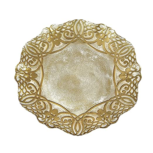 Gilded Gold Geneve Glass Charger Plate