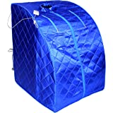 ALEKO PIN15BL Personal Folding Portable Home Infrared Sauna w/ Folding Chair and Foot Pad, Blue