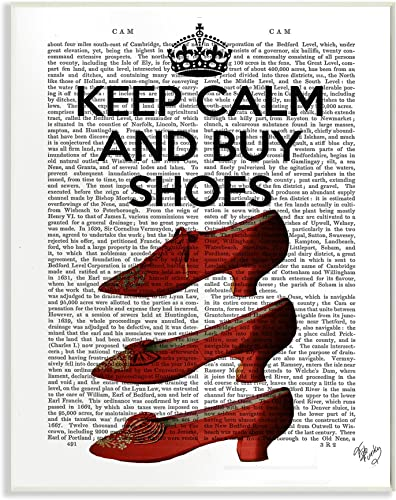 Stupell Industries Keep Calm and Buy Shoes Wall Plaque Art, 10 x 0.5 x 15, Multi-Color