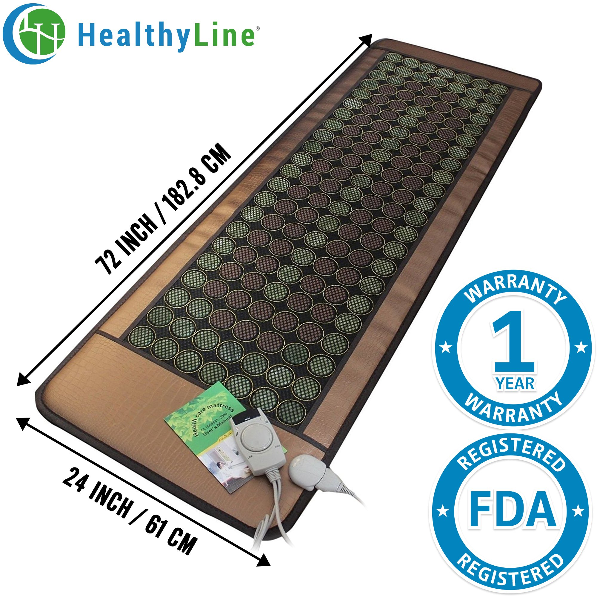 HealthyLine Far Infrared Heating Mat 72''X24'' Relieve Muscles Pain & Insomnia| Natural Jade & Tourmaline Stone | Negative Ions (Large & Flex) | US FDA by HealthyLine (Image #1)