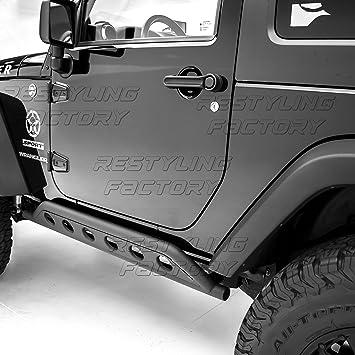 Amazon.com: Restyling Factory  Black Textured Body Side Armor Rocker Guard Rock  Sliders 2 Door Tube For 07 18 Jeep Wrangler JK 2 Door ONLY: Automotive