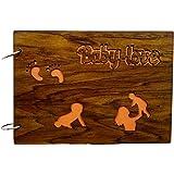 SUR LASER Wooden Baby Photo Album (Brown)