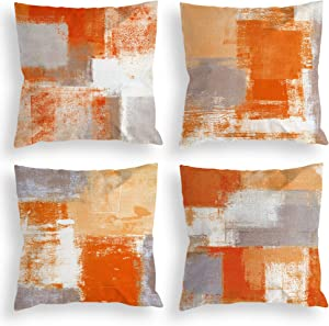 COLORPAPA Orange Grey Throw Pillow Covers 18x18 Set of 4 Decorative Cushion Cover Beige Abstract Art Painting Pillowcase for Sofa Bedroom Living Room Décor