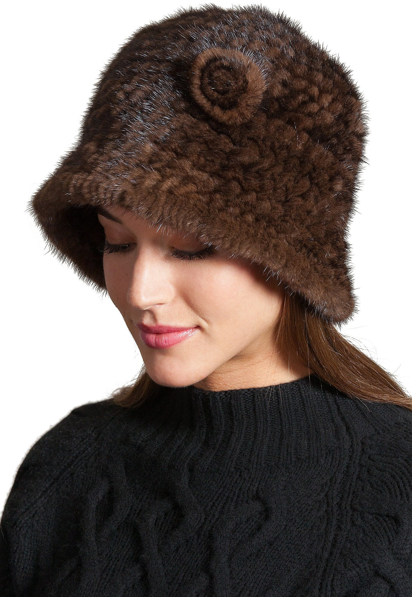 Overland Sheepskin Co. Knitted Danish Mink Fur Cloche Hat with Removable Floret