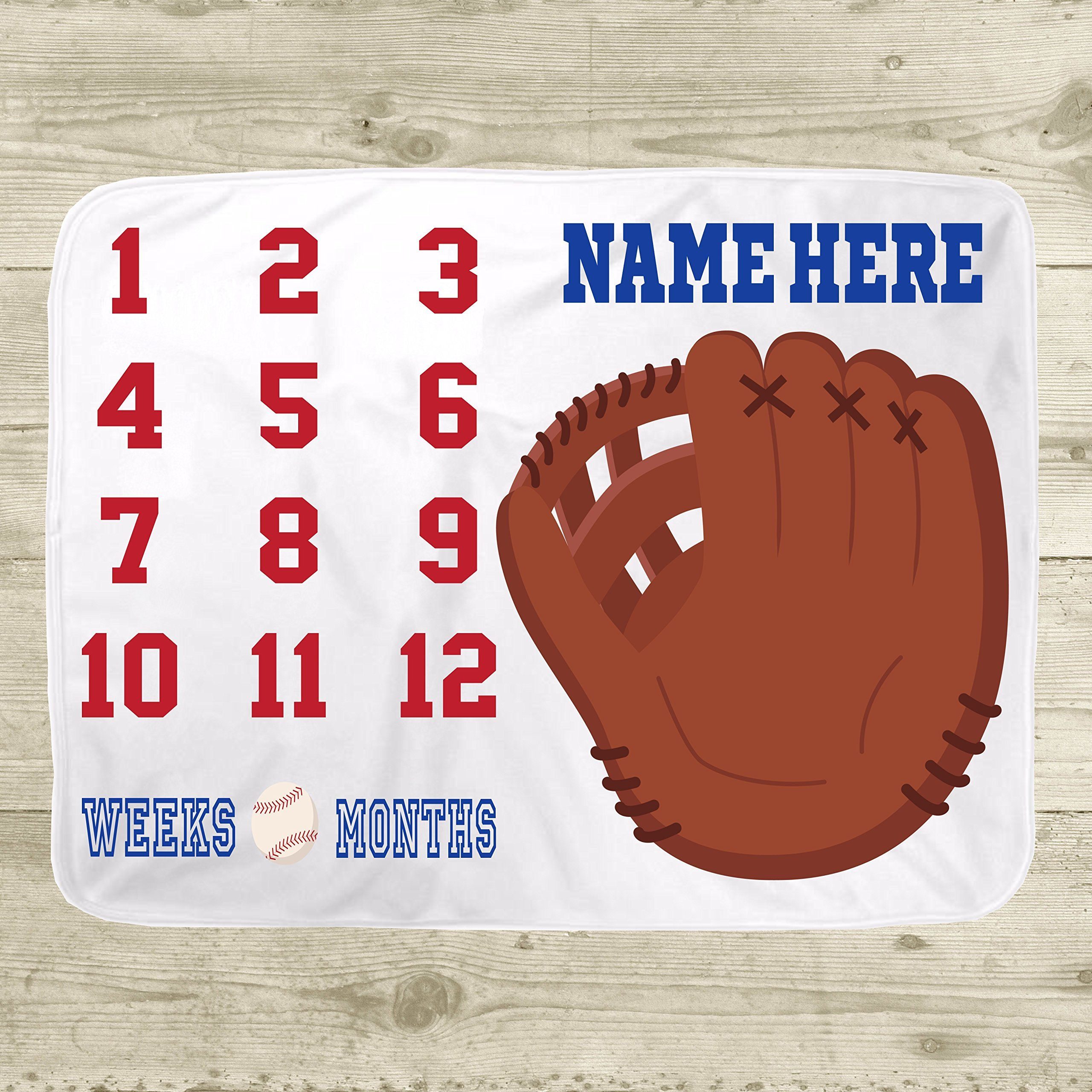 Personalized Baseball Month to Month Milestone Growth Blanket