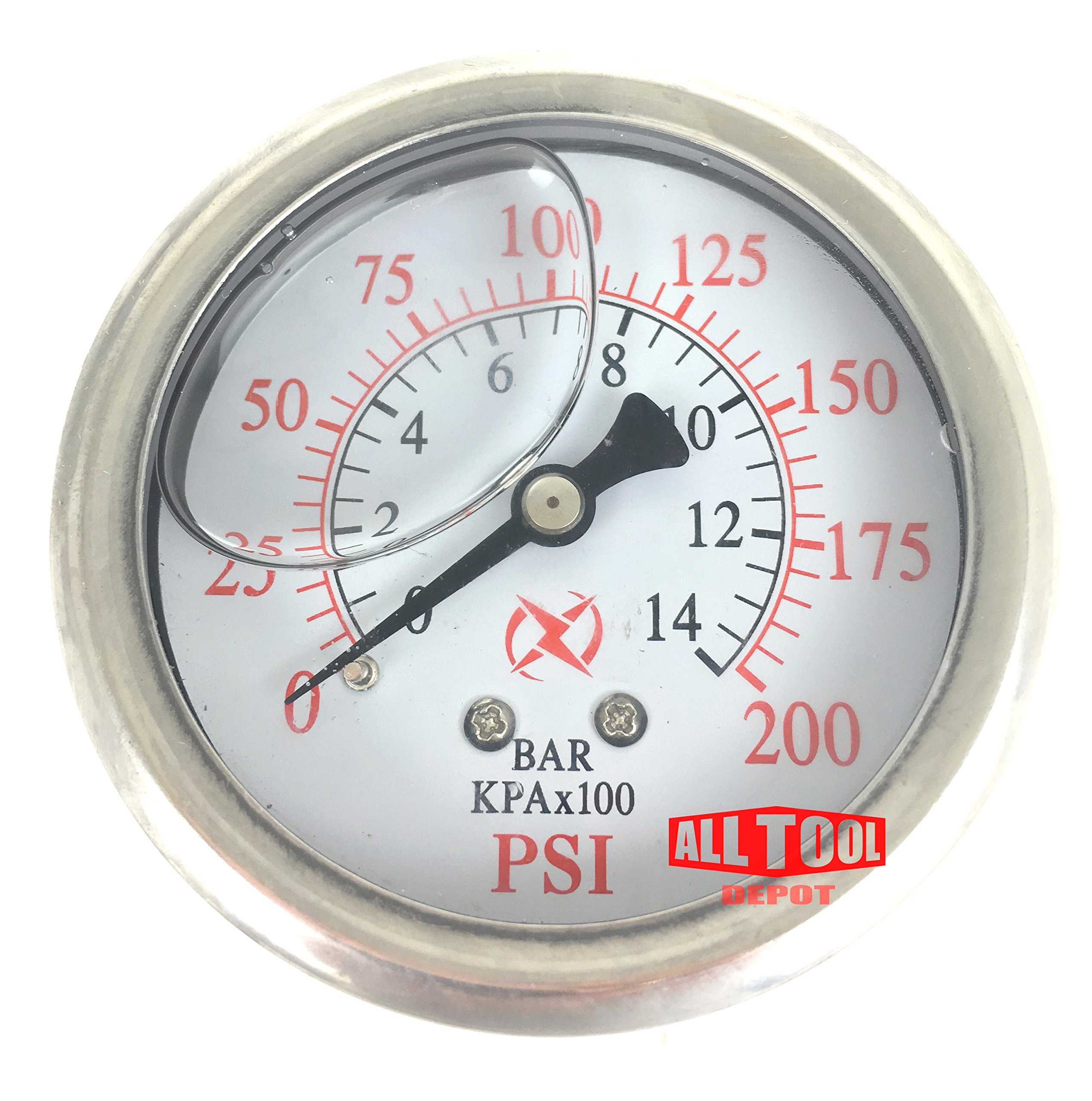 Best in USA Liquid Filled 2.5'' Air Pressure Gauge Center Back Mount 1/4'' NPT 2-1/2'' Dial - 0 to 200 PSI