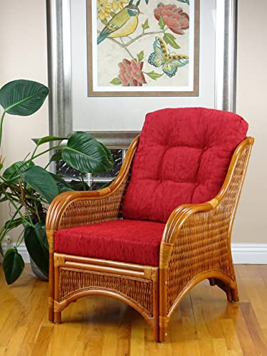 Jam Design Natural Handmade Rattan Wicker Lounge Light Brown Chair with Thick Red Cushion