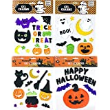 decoraci/ón de Cristal para Halloween con Calabaza y Fantasma Lote de 6 l/áminas de Pegatinas de Halloween para Ventanas de Gel K KUMEED