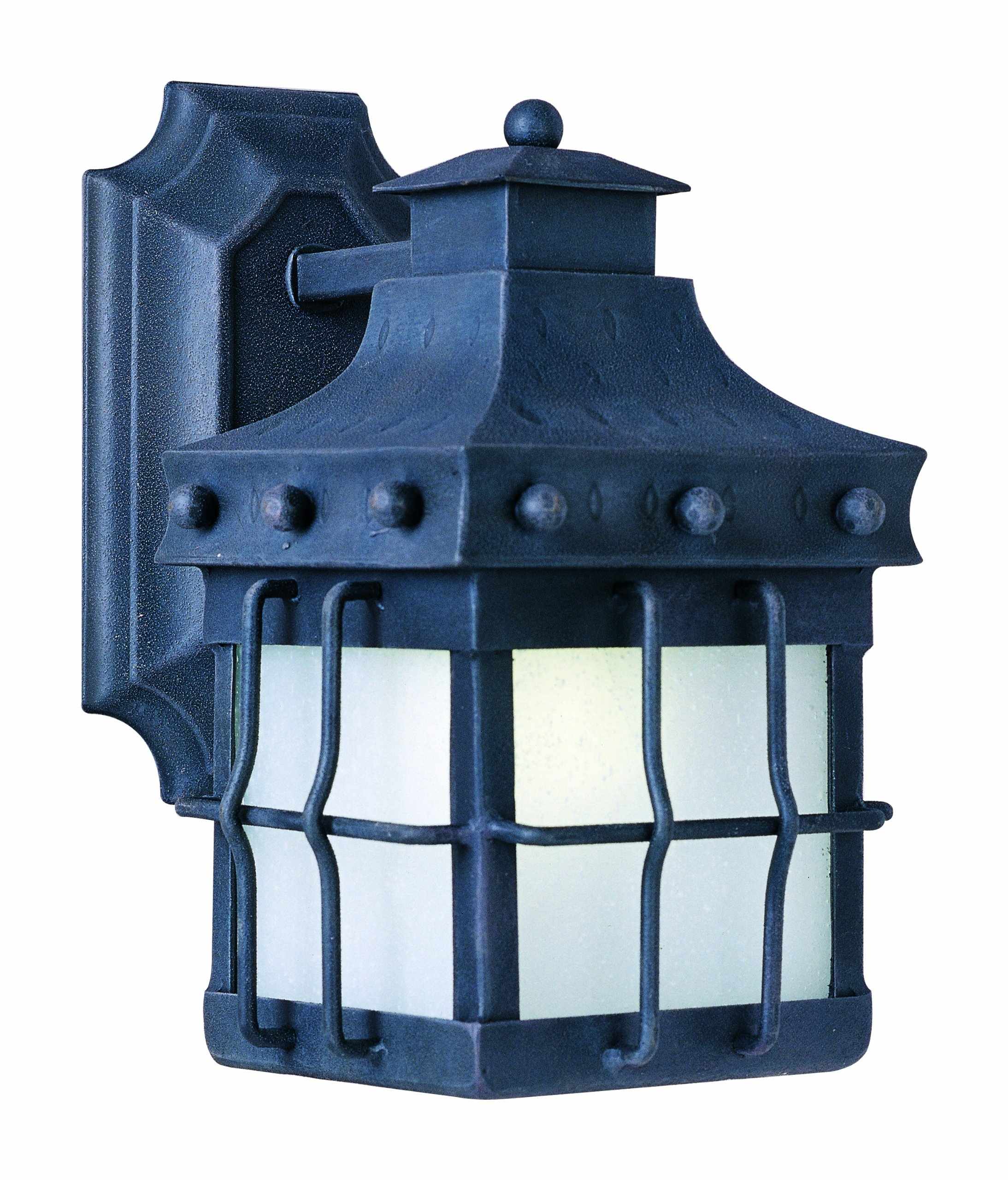 Maxim 86081FSCF Nantucket EE 1-Light Outdoor Wall Lantern, Country Forge Finish, Frosted Seedy Glass, GU24 Fluorescent Fluorescent Bulb , 60W Max., Wet Safety Rating, Standard Dimmable, Glass Shade Material, 1344 Rated Lumens