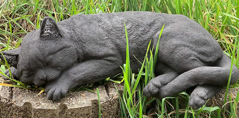 Stone and Style Steinfigur gro/ße Schwarze Katze schlafend Gartenfigur frostfest wetterfest