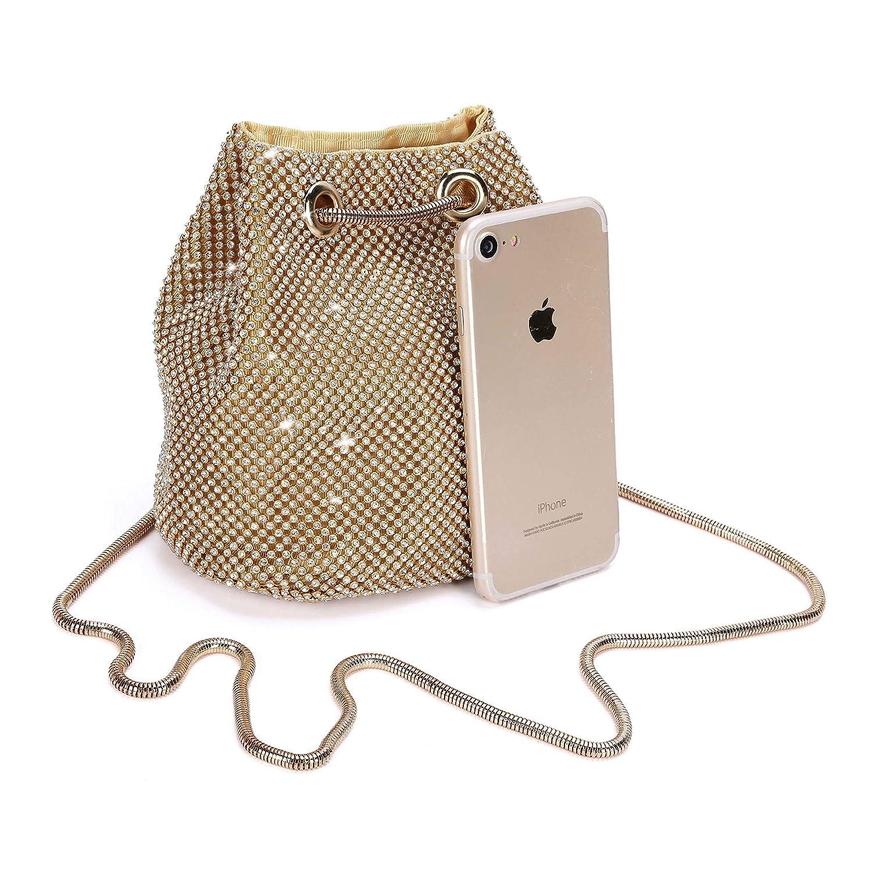 Bolso de Noche de Lujo Bolso de Hombro Mujer Glitter Diamond Embrague  Bolsos de Hechos a Mano Cadena de Encogimiento para Boda/Fiesta /  Baile-Dorado