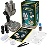 NATIONAL GEOGRAPHIC Dual LED Student Microscope – 50+ pc Science Kit Includes Set of 10 Prepared Biological & 10 Blank…